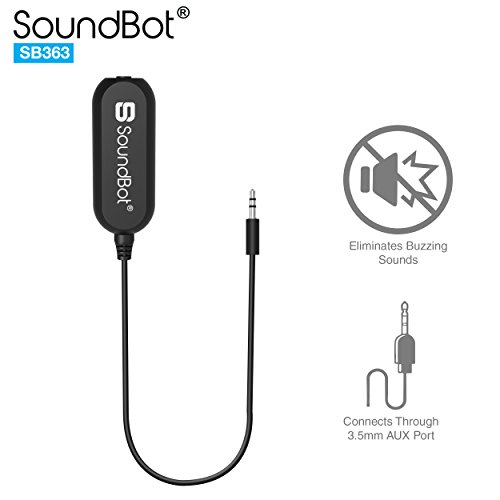 SoundBot SB363 3.5mm Ground Loop Noise Isolator Adapter Remover[Buzzing Eliminator Hissing Filter] Speaker/Car Audio Stereo System/Bluetooth Adapter Receiver/Car Kit/Home Audio w/Built-in AUX Cable