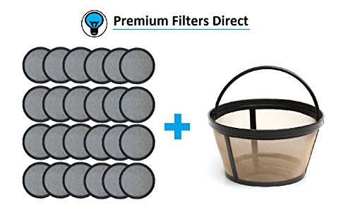 Premium Replacement Charcoal Water Filter Disks for Mr. Coffee Machines [24 Pack] + Reusable Basket Coffee Filter fits Mr. Coffee (24 Water Filters + 1 Reusable Coffee Filter) by Premium FIlters Direct