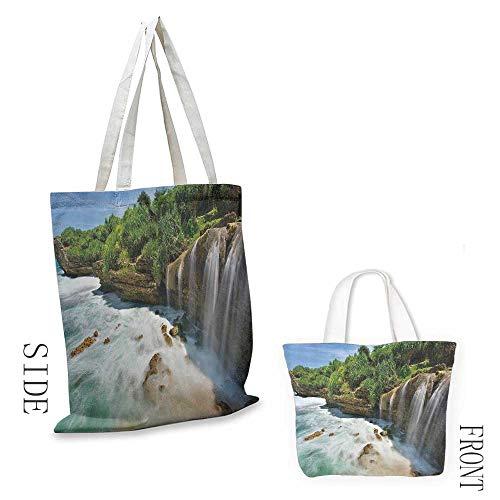 Canvas travel storage bag Nature Jogan Beach Waterfall View in Java Indonesia Tropical Seashore Scenery Decorative crafts 16.5