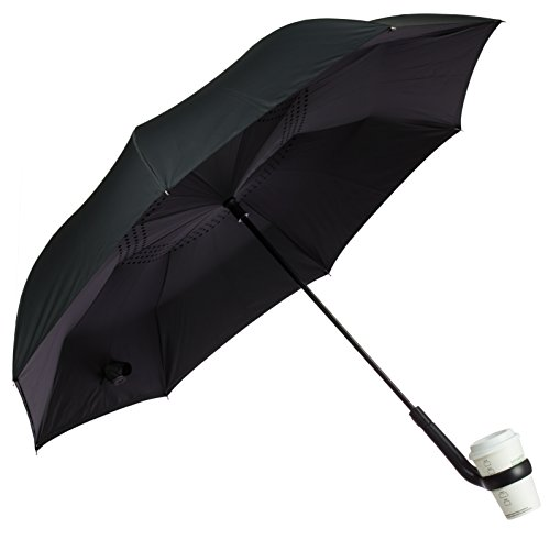 Urban Zoo Patent Pending Premium Inverted Umbrella W/Cup Holder Handle- Automatic Close, Creative New Reversible Windproof Design, Heavy-Duty Fiberglass Frame, Ideal for Multi-Tasking & Cars