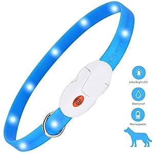 kolpop Collar Luminoso Perro, USB Recargable Collar Perro Seguro para Mascotas, 3 Modos de Collar Perro luz, Collar LED…