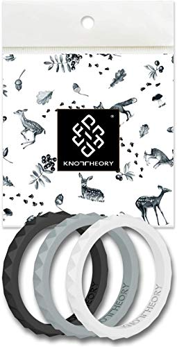 Knot Theory Stackable Silicone Wedding Rings for Women - Thin Slim Bands in Black, Grey, White - Harmony 3-Pack Size 7 - Expert Color Combo - Ultra Comfortable Elegant Gift for Wife ()