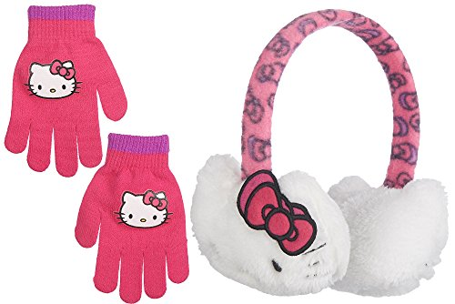 [Hello Kitty Girls Plush Ear Muff & Gloves Set- One Size White] (Hello Kitty Ears)