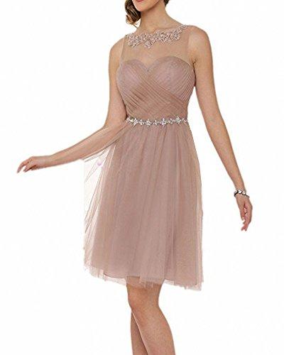 Ballkleider Transparenter Brautkleid Abendkleider Kurz Elegant Für Kaffee Damen Carnivalprom Leichter Hochzeit Hals 1xHy0wzA5q