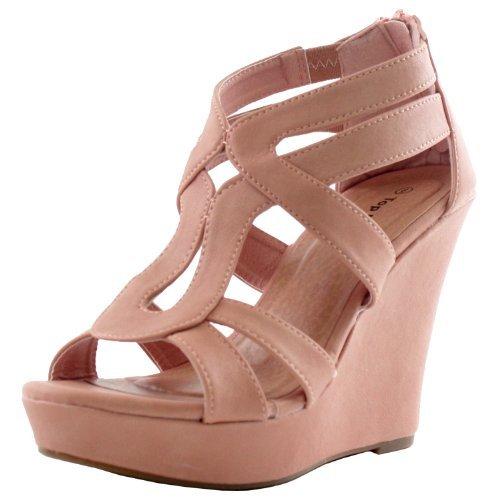 Top Moda Women's Strappy Open Toe Platform Wedge Blush 8 - Blush Women Platform