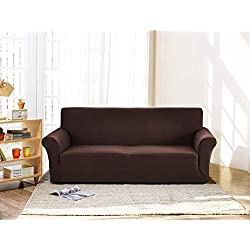 JEAREY Jacquard Couch Cover Stretch Sofa Slipcover 1-Piece Machine Washable Chocolate