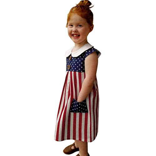 Toddler Baby Girls Dresses Patriotic Button Sleeveless Dress Pocket for Little Sweety Girl ()