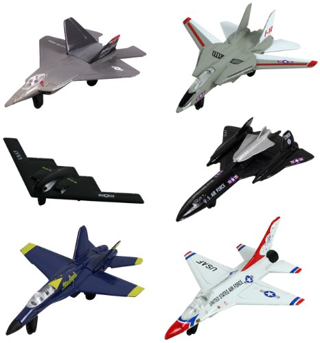 InAir Modern Planes 6-pc Set with Aircraft ID Guide - Assortment 1 (Sr 71 Blackbird Plane)