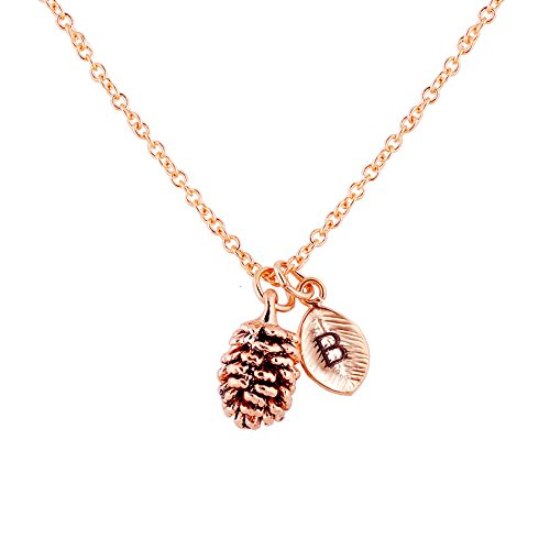 Rose Gold Dainty Pinecone Necklace Initial Necklace Nature Necklace Leaf Necklace Mother's Day Gift for Her (B) (Jewelry Initial Necklace)