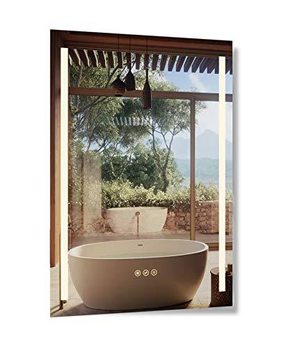 B&C 20x30 inch Super Slim Bathroom Mirror Vertical|2 Led Strips| Polished Edge -