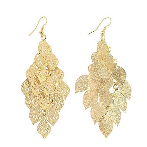 14K Gold Leaf Cluster Earring Light Weight Chandelier Dangling Earrings for Women Girls