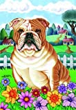 "Cheap Bulldog – by Tomoyo Pitcher, Spring Dog Breed 28"" x 40"" Flag"