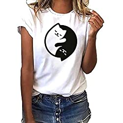 Ykaritianna Women Girls Plus Size Print Tees Shirt Short Sleeve T Shirt Blouse Tops