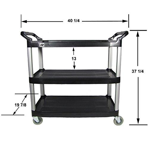 Crayata 3 Shelf Rolling Utility Cart with Heavy Duty Plastic Shelves and Oversized Wheels, Black (Large) (Computer Cart Plastic)