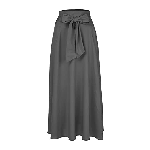 Belted Maxi Skirt AGUIguo Women High Waist Pleated A Line Long Skirt Front  Slit (Dark 941059a34