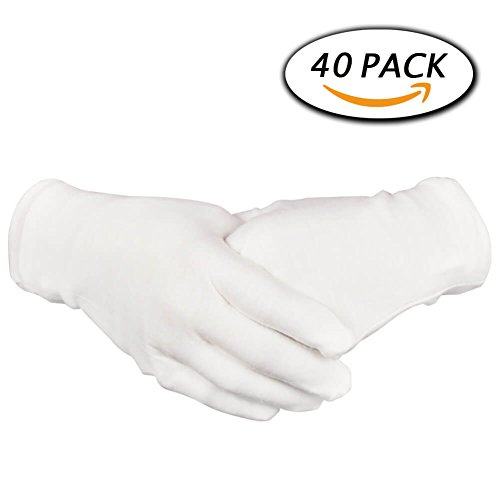 Large White Cotton Gloves (Paxcoo 20 Pairs White Cotton Gloves 8.6
