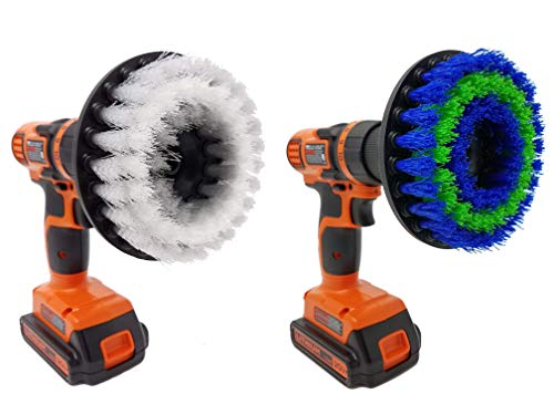 Drill Scrubbing Brush Attachment Set: Beast Brush Spin Power Scrubber for Fast and Easy Cleaning for All Surfaces, Soft & Medium Bristles for Bathroom Shower and Tub, Kitchen Tiles, Carpet, Cars