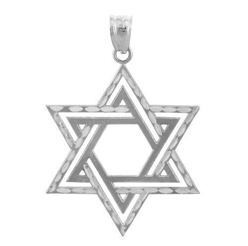 10 ct 471/1000 Charme Juive - Etoile Satin Or Blanc Croix of David Pendentif