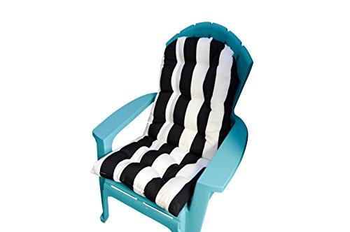 Adirondack Lawn Chair - Outdoor Tufted Adirondack Chair Cushion - Black & White Stripe