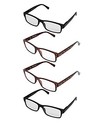 Fashionable Spring - Vista Vision Fashionable squaredesign spring hinge reading glasses (2 Black 2 Tortoise, 2.25)