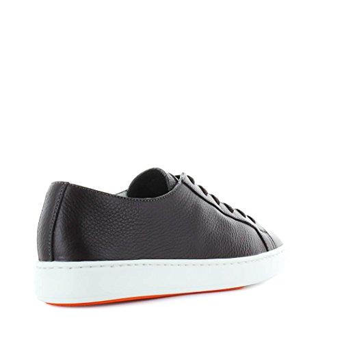 Santoni Zapatos de Hombre Zapatilla EN Cuero Marrón Oscuro Primavera Verano 2018