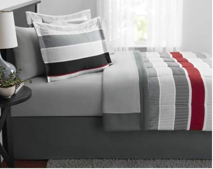 (Mainstays 8 Piece Red Stripe Bed in a Bag Comforter Set, King)