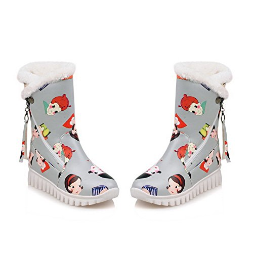 AgooLar Women's Round Closed Toe Low-top Low-Heels Cartoon Pattern PU Boots Gray JeK2U7i1Ue