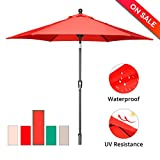 Cheap SUNLONO 9′ Outdoor Patio Backyard Umbrella Garden with Sturdy Aluminum Ribs, Crank Winder, Push Button Tilt, Dark Red