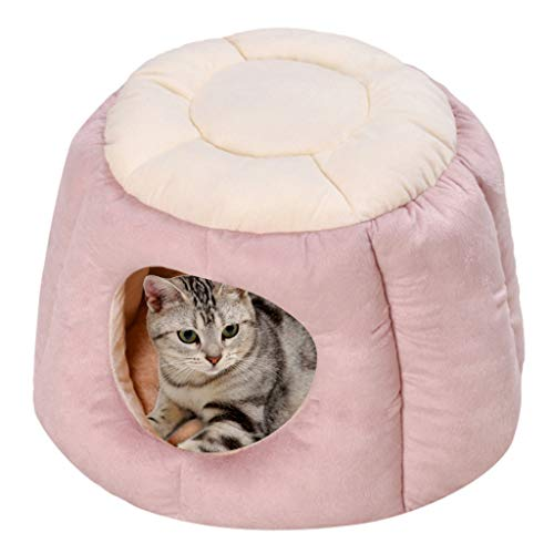 Cat Sleeping Bag, Inkach Pet Tent Bed for Small Dogs Nest Kennel Comfy House, Puppy Kitten Cave Bed Liner Soft Warm Nest Kennel Sleeping Mat Pad (M, Pink)