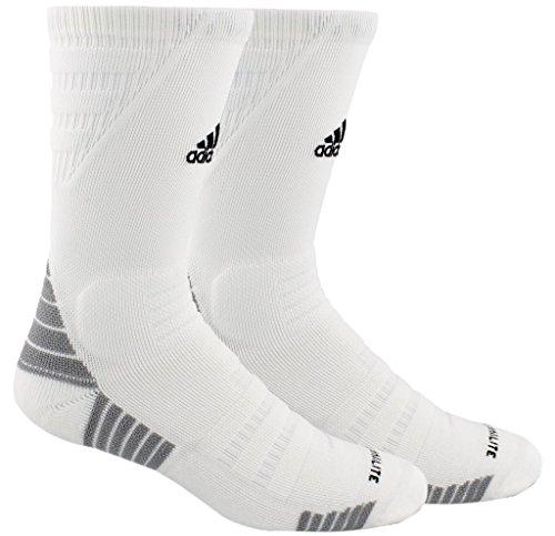 adidas Alphaskin Maximum Cushioned Crew Socks (1-Pack), white/black/light Onix, 5-8.5