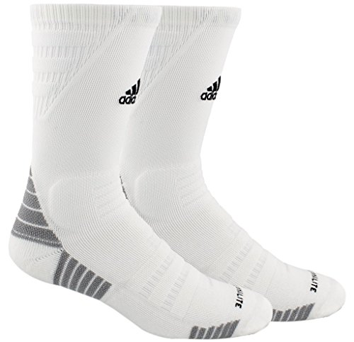 Crew Adidas Tennis Socks (adidas Alphaskin Maximum Cushioned Crew Socks (1-Pack), white/black/light Onix, 9-13)