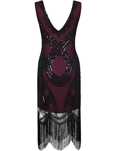 Burgundy Flapper Lentejuelas Gatsby Cuentas Mujer Dress Flecos Kayamiya Veinte Retro Elegant Floral Años xw7OfqFzf