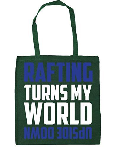 HippoWarehouse Rafting enciende mi mundo al revés Tote Compras Bolsa de playa 42cm x38cm, 10litros verde oscuro