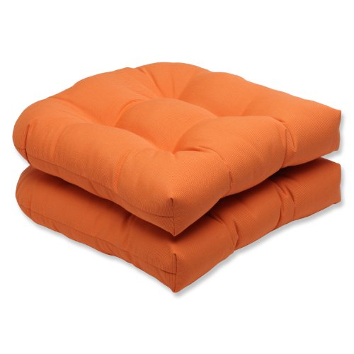 Pillow Perfect Indoor/Outdoor Wicker Seat Cushion with Sunbrella Canvas Tangerine Fabric, Set of 2, Orange