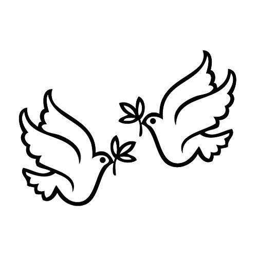 leononlinebox Dove Peace - Animal Decal [12cm Black] Vinyl Sticker for Car, Bike, iPad, Laptop, MacBook, Helmet