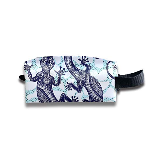 Makeup Cosmetic Bag Ornate Gecko Lizard Seamless Pattern Zip Travel Portable Storage Pouch Mens Womens -