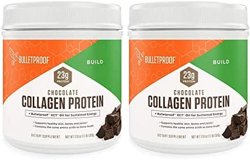 Bulletproof Collagen Protein Powder - Chocolate Flavor - Ketogenic Diet, Pasture Raised, Amino Acid Building Blocks for High Performance (17.6 Ounces) (Pack of 2)