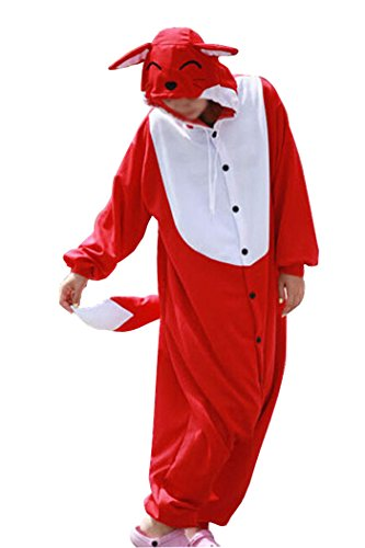Male Red Fox Costume (WOTOGOLD Animal Cosplay Costume Fox Unisex Adult Pajamas Red)