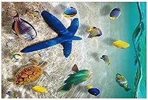 ملصق حائط ثلاثي الأبعاد مطبوع عليه صورة شاطئ المحيط ورمال الشاطئ