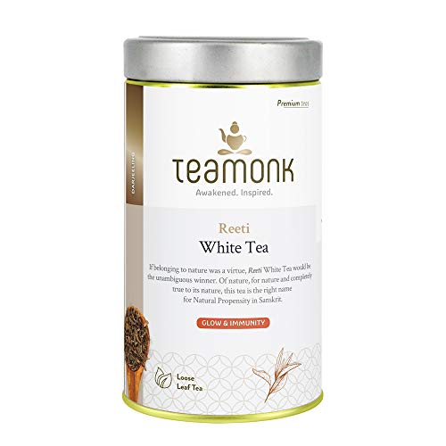 Teamonk Reeti Organic White Tea Loose Leaf (62 Cups) | Powerful Antioxidant Tea | Tea for Glowing Skin | Immunity Boosting Tea | Pure Loose Leaf Tea | No Additives - 4.4oz (Best Organic White Tea)