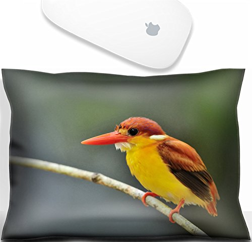 Luxlady Mouse Wrist Rest Office Decor Wrist Supporter Pillow Natural Rubber Mousepad. IMAGE: 31333271 Bird Rufous backed Kingfisher Thailand