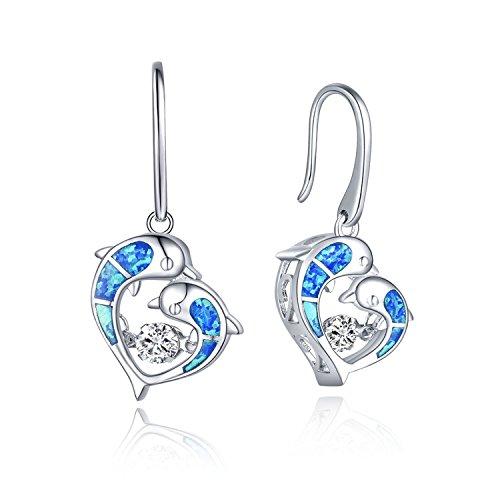925 Sterling Silver Dancing Diamond Cubic Zirconia Blue Fire Opal Dolphins Love Heart Fish Hook Dangle & Drop Earrings