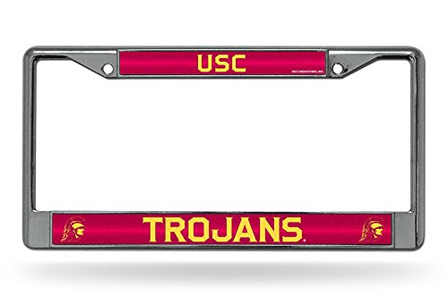 - Rico Industries NCAA USC Trojans Bling Chrome License Plate Frame with Glitter Accent