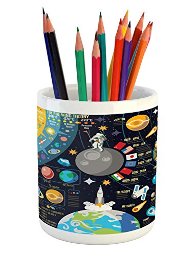 "Lunarable Outer Space Pencil Pen Holder, New Horizons of Solar System Infographic Pluto Venus Mars Jupiter Skyrocket, Ceramic Pencil Pen Holder for Desk Office Accessory, 3.6"" X 3.2"", Blue Yellow"