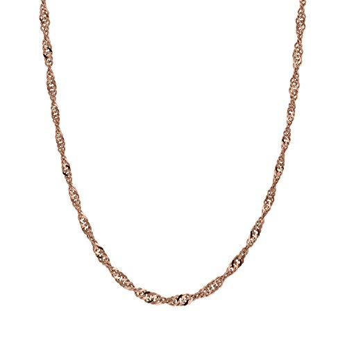 Honolulu Jewelry Company 14K Solid Rose Gold 1.5mm Singapore Twisted Curb Chain - 16 Inches ()
