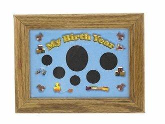 Baby Boy My Birth Year Coin Solid Oak Frame Easel Back Blue 5x7