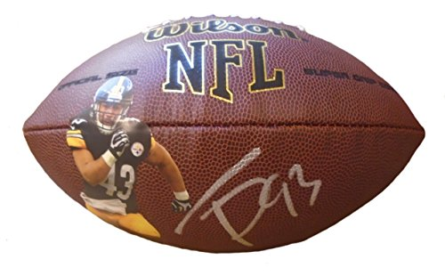 Pittsburgh Steelers Troy Polamalu Autographed Hand Signed Photo NFL Wilson Football with Proof Photo, USC Trojans, (Troy Polamalu Hand Signed)