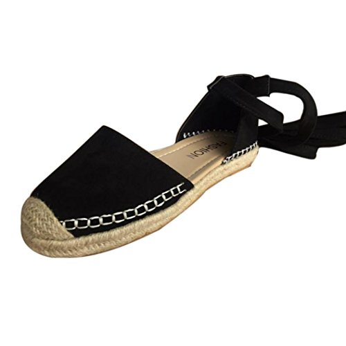 ZycShang Women Sandals Flat Lace-up Espadrilles Summer Chunky Holiday Sandals Shoes Strap Shoes Size 5-9 Black