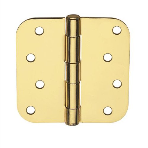 Global Door Controls 4 in. x 4 in. Satin Brass Plain Bearing Steel Hinge with 5/8 in. Radius - Set of - Doors Hollow Core Wood