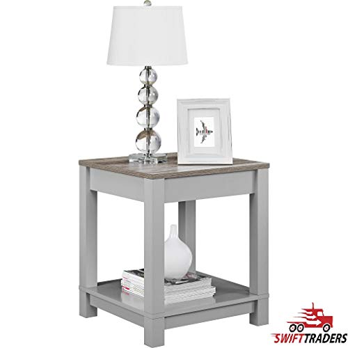 Beautiful and Functional Style Carver Sonoma Oak End Table Features a Soft Grey Finish with a Distressed Woodgrain top in Grey - with HandSaver Gloves Included